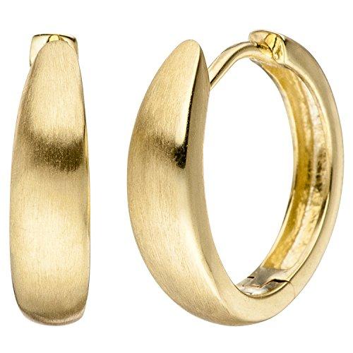 JOBO Damen-Creolen aus 333 Gold vorne matt Durchmesser 15 mm