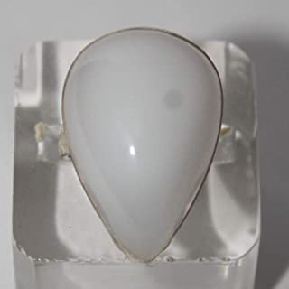 Cacholong ring, white opal ring