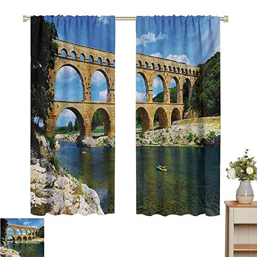 N / A Living Room Curtains Landscape,Ancient Roman Heritage Wall Southern France Architectural Historical Landmark,Blue Green Tan,Rod Pocket Curtain Panels for Bedroom & Kitchen