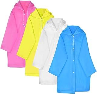 Topbuti 4 Packs Reusable Kid Rain Coats, Portable Kid Children Rain Poncho, Kids Rain Wear for Outdoor Activities, Boys Girls Raincoat with Hoods and Sleeves