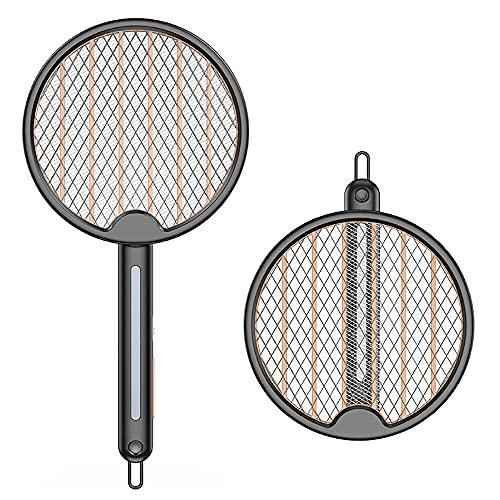 Raqueta Electrica Insectos Antimosquitos, lámpara UV Plegable eléctrica para Insectos, USB Recargable, Matamoscas eléctrico con batería de 1200 mAh USB Extra Fuerte