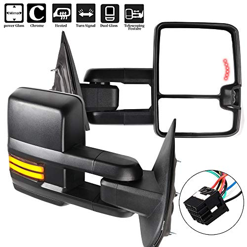 OCPTY Towing Mirrors with Power Heated Left Right Side Tow Mirrors Compatible with for Chevy 2014-2018 for GMC 2014-2018 with Running Lamp Reversing Lamp Black housing