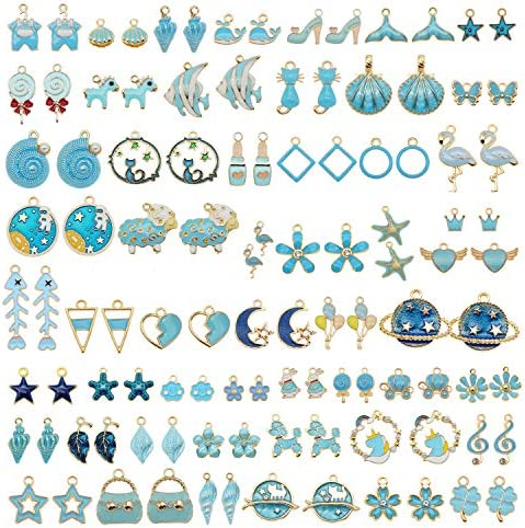 JJG Wholesales 80pcs 40PAIRS Assorted Gold Plated Blue Theme Enamel Dainty Dangle Pendants Charms product image