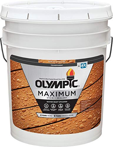 Olympic Stain 56504-5 Maximum Wood Stain and Sealer, 5 Gallons, Transparent Stain, Redwood Naturaltone
