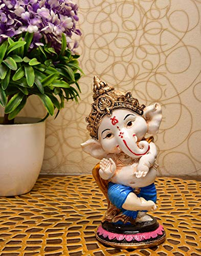 Saudeep India, Handcrafted Resine Little Ganesh Sculpture   Showpiece for Home & Office Decor (Blessing Ganesh)