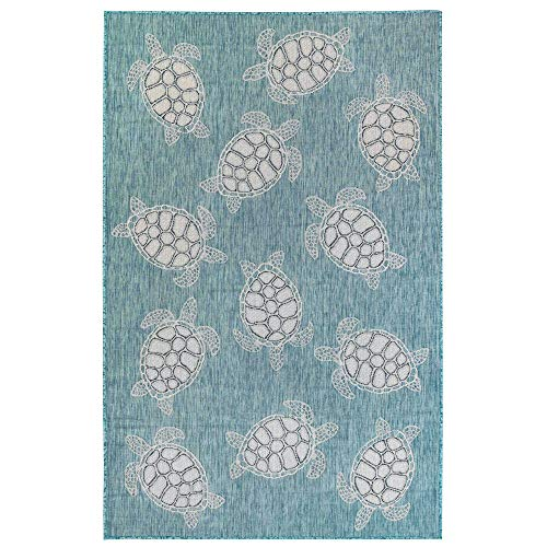 M By Liora Area Laguna Coastal Turtle Indoor/Outdoor Rug, 3'3' X 4'11', Aqua Blue