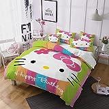 ZJJIAM Hello Kitty - Juego de ropa de cama para niña (1 funda nórdica y 2...