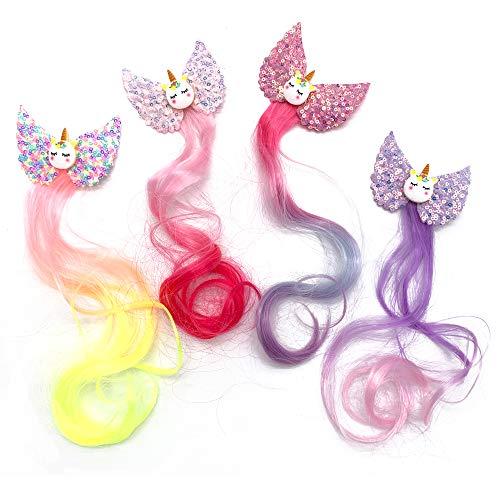 4 Piezas Pinza de pelo de Unicornio Arcoiris
