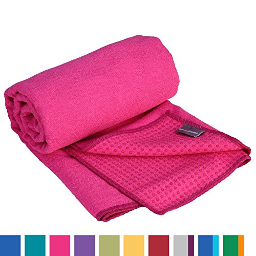 GRIP2 Yoga Towel, Yogahandtuch mit Antirutsch-Noppen, rutschfest, Yoga-Handtuch, sehr gut für Hot Yoga (himbeer-pink), Yogamattenauflage