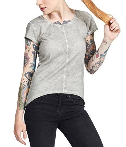 trueprodigy Casual Mujer Marca Camiseta Basico Ropa Retro Vintage Rock Vestir Moda Cuello Redondo Manga Corta Slim fit Designer Fashion t-Shirt, Colores:Darkgrey, Tamaño:XS
