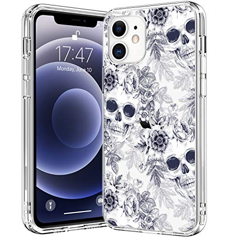 BICOL Compatible with iPhone 12 Case,iPhone 12 Pro Case,Clear with Fashionable Floral Designs for Girls Women,Protective Phone Case for Apple iPhone 12 Pro/iPhone 12 6.1' Beautufl Skulls