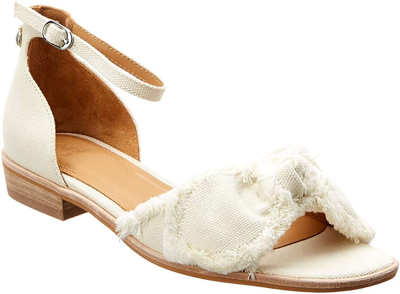 Bill Blass Cotton Canvas Bow Detail Ankle Strap