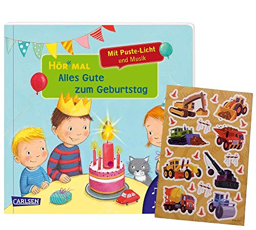 Carlsen Hör mal (Soundbuch): Alles Gute zum Geburtstag (mit Puste-Licht und Musik) + Kindersticker, ab 1 Jahr