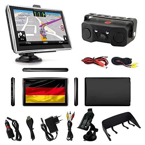 Navigationsgerät für LKW PKW Wohnmobile Navi 7 Zoll mit Sprachführung 8GB 256MB mit Bluetooth Navigation mit Rückfahrkamera Nachtischt Einparkhilfe