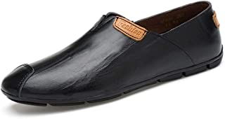 RongAi Chen Driving Penny Loafer for Men Captoe Slip on Boat Moccasins Genuine Leather Elastic Bands Strong Antislip Outsole (Color : Black, Size : 7 UK)