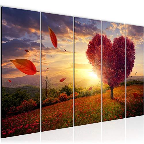 Bilder Herbst Baum Herz Wandbild 200 x 80 cm Vlies - Leinwand Bild XXL Format Wandbilder Wohnzimmer Wohnung Deko Kunstdrucke Rot 5 Teilig - MADE IN GERMANY - Fertig zum Aufhängen 605855a