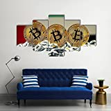 Bild auf Leinwand - Wandbild Flagge Vereinigten Arabischen Emirate mit Bitcoin Leinwandbilder Leinwand Drucke Wohnzimmer Wanddekoration Kunstwerk Dekoration