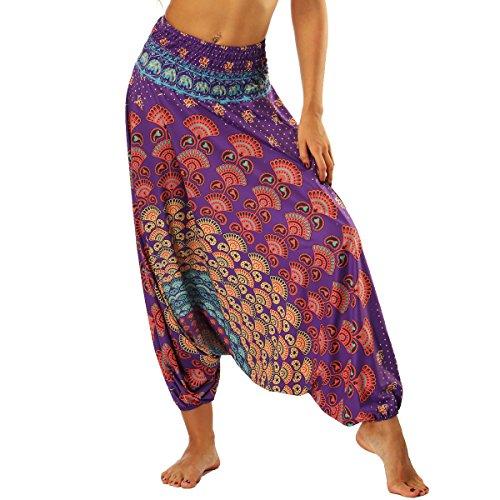 Nuofengkudu Mujer Pantalones Sueltos Hippi Tailandeses Estampado Verano Cintura Alta Elastica Entrepierna Baja para Yoga Casual Morado Fan B