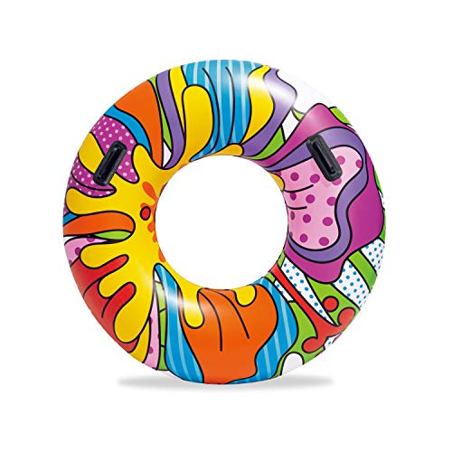 Bestway Inflatable Rubber Ring, Swimming Float with Pop-Art Design
