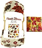 Fall Throw Blanket: Warm Autumn Red Yellow Brown Beiges Colors, Leaves and Berries Design (Colorful Leaves)