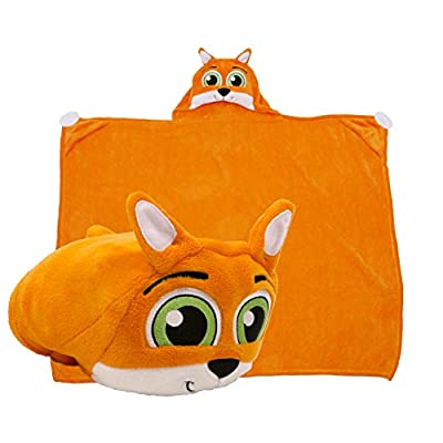 Comfy Critters Kids Huggable Hooded Blanket - The Perfect Playmate for Your Child - Snuggle Up in A Plush Hoodie Blanket or Transform It Into an Animal Shaped Pillow