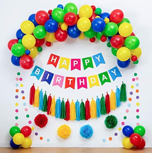 Colorful Birthday Decorations&Balloons Arch Garland Kit,Tassel Garland,Pom Poms Flowers,Happy Birthday Banner,Colorful Paper Garland,Rainbow Birthday Party Supplies Boy Girl Birthday Party