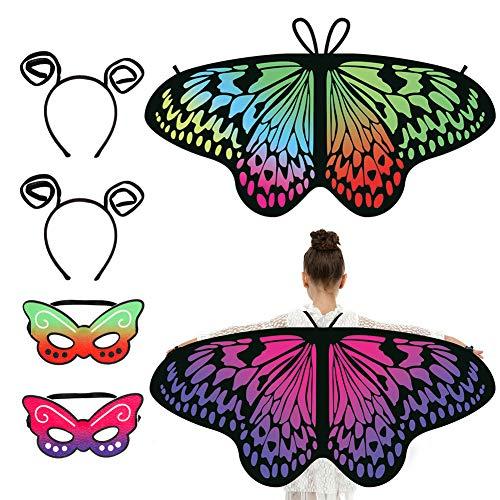SUSSURRO 6 Stck Schmetterlingsflgel Kinder Schmetterlingsflgel Flgel Kostm, Schmetterlings Gesichtsbedeckungen mit Schmetterlingstentakel Stirnbnder, Halloween-Kostm-Partei Kinder Mdchen