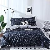 Damier Ropa de cama reversible de 200 x 200 cm, diseño de cuadros, 3 piezas, microfibra suave, funda nórdica con cremallera y 2 fundas de almohada de 80 x 80 cm