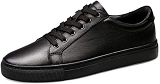 RongAi Chen Fashion Sneakers for Men Casual Skater Shoes Lace up Low Top Soft Genuine Leather Wear Resistant Round Toe Vegan Lightweight (Color : Black, Size : 5 UK)