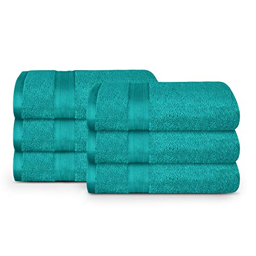 TRIDENT Wash Towel, 6 Piece Bathroom Towel, 100% Cotton, Highly Absorbent, Super Soft, Soft and Plush, 500 GSM (Teal)
