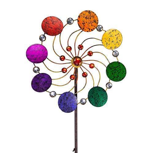 CIM Metall Windrad - Exotic Flower Rainbow - Ø34cm, Gesamthöhe: 122cm - inkl. 3-teiligem Standstab - leichtgängig drehend