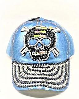 Tipsy Chics Capsmith Women's Denim with Skull Rhinestone Baseball Hat