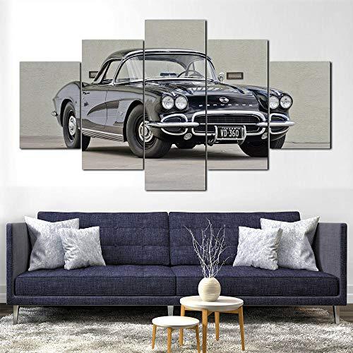 GUANGYUN-5 Pièces Mural Art Peinture- 1962 Corvette C1 Affiche d'art De Voiture Classique -Tableau Decoration Murale Salon Moderne XXL Impression sur Toile 5 Parties Tableau Intissee-Cadre