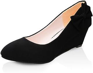 [サニーサニー] レディース パンプス 歩きやすい 大きいサイズ ウェッジソール 婦人靴 リボン コンフォート 痛くない フォーマル 柔らかい カジュアル 普段履き 通勤 防滑 軽い 柔軟性抜群 屈曲性 美脚 婦人靴 黒