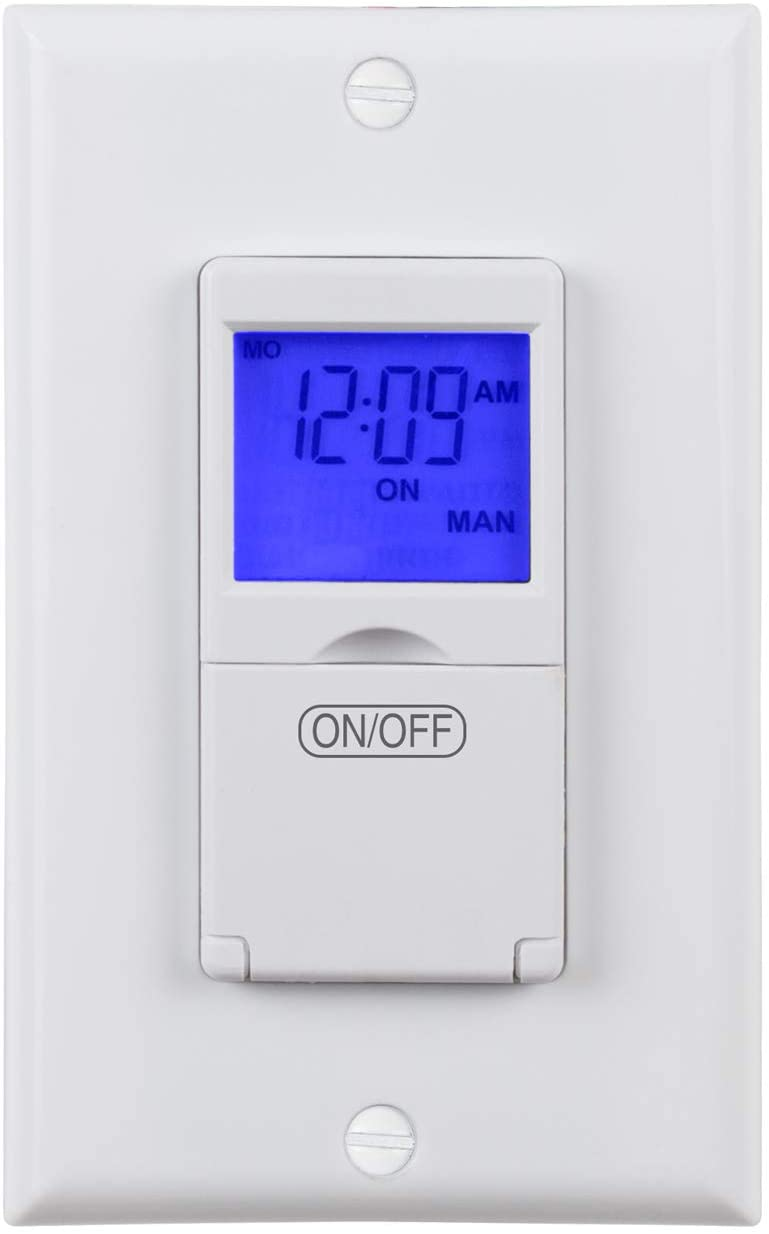 BN-LINK 7 Day Programmable In-Wall Timer Switch for Lights, fans and Motors, Single Pole and 3 Way (Compatible with SPDT) Both Use, Neutral Wire Required, White (Blue Backlight)