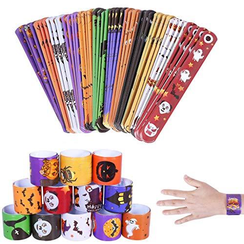 Halloween Slap Bands, 12 PCS Slap Bracelets Fun and Super Slap Wrist Bands, Party Bag Fillers Gift Christmas Halloween Party Favours for Kids Girls Boys Bracelets with Pumpkin Ghost Bats