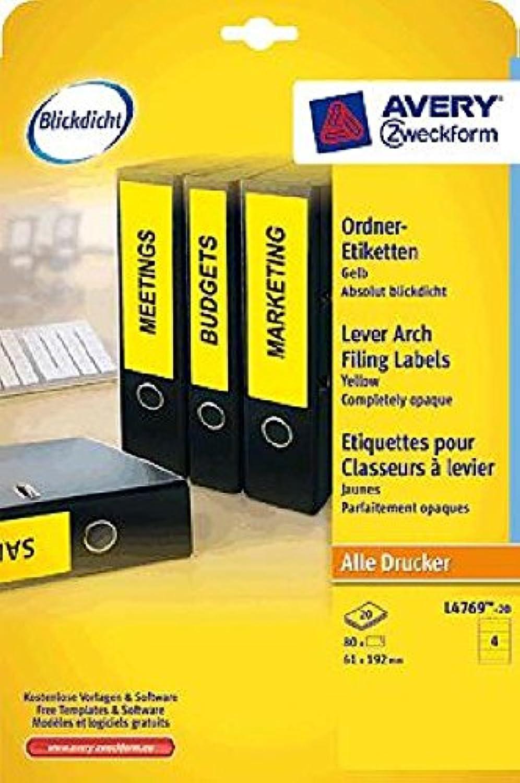 AVERY Zweckform Ordnerrücken-Etiketten Ordnerrücken-Etiketten Ordnerrücken-Etiketten L4769-20, gelb, Inh. 80 B00IHK22CO  | Outlet Store  79516a