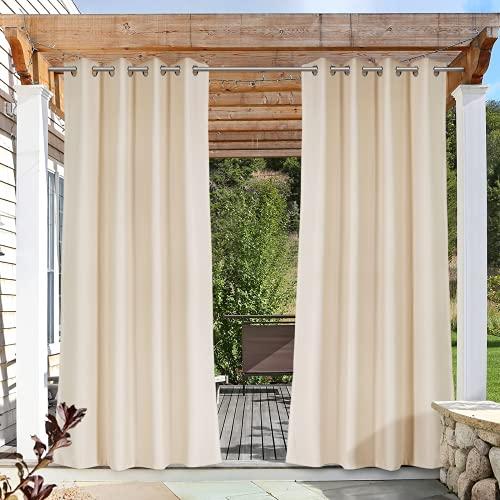 Tenda Oscuranti per Esterni Tende Gazebo da giardino,Tenda Oscurante, impermeabili,protezione dal vento e dai raggi UV, con Occhielli (Beige, 132*175cm)