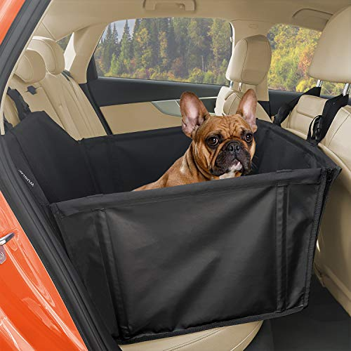 WUGLO Extra Stabiler Hunde Autositz - Verstärkter Autositz für kleine und mittlere Hunde mit 4 Befestigungsgurten - Hochwertiger und wasserdichter Hundeautositz für den Rücksitz im Autos