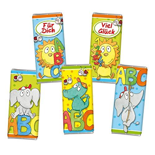 STEINBECK Einschulung 5 mal Mini Vollmilch Schokolade Tafel Schultüte Zuckertüte 5er Set Geschenk Befüllung ABC Schulkind Tiere