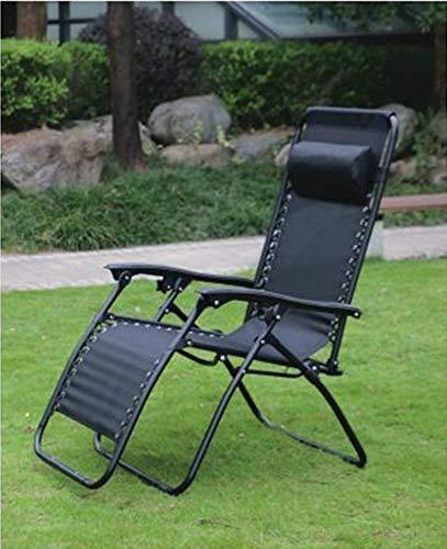 Hyfive Tumbona reclinable plegable para jardín, playa, patio, camping, gravedad cero, 1 silla, color negro