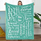 Teal Flannel Throw Positive Blanket Super Soft Blanket You are Awesome Unique Gifts for Family Friends and Couples for Birthday Christmas Friendship Anniversary