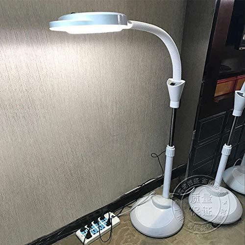 Touch Lamp met traploos dimmen, Beauty lamp tattoo lamp, led vergrootglas vloerlamp-Dimbare 3 cirkel lamp kralen stofkap katrol, Vergrotend verlicht vergrootglas licht