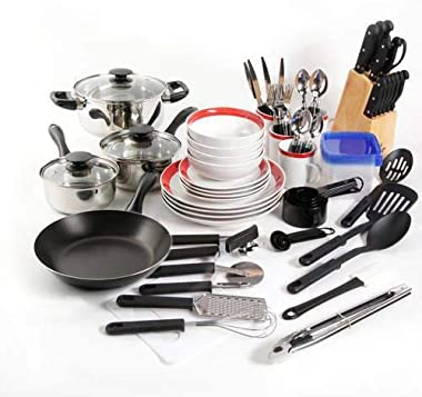 Kitchen Combo Set Essential Cookware Dinnerware 83 Pcs, Red Dinnerware Dishware dishes Dinnerware unbreakable Plate sets for