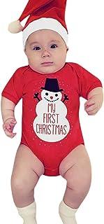 Body Mono recién Nacido bebé niño niña Disfraz Navidad Ropa casera Conjunto de 2 Piezas Manga Corta Mameluco Estampado muñeco de Nieve + Sombrero 6-24 Meses