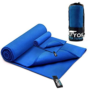 Wolfyok 2 Pack Microfiber Travel Sports Towel XL Ultra Absorbent and Quick Drying Swimming Towel (58  X 30 ) with Hand/Face Towel (14  X 13.7 ) for Sports, Backpacking, Beach, Yoga or Bath, Blue