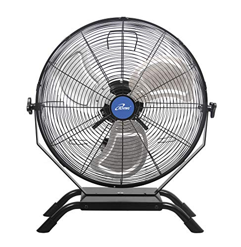 iLIVING Wall Mounted/Floor Stand Variable 20 Inches Speed Indoor/Outdoor Fan, Industrial grade for Patio, Greenhouse, Garage, Workshop, and Loading Dock, 4650 CFM, Black