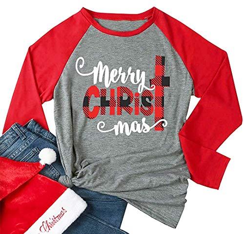 Qrupoad Damen Baseball-T-Shirt Merry Christmas Graphic Casual Tops Full Raglan Langarm Tee - Rot - Small