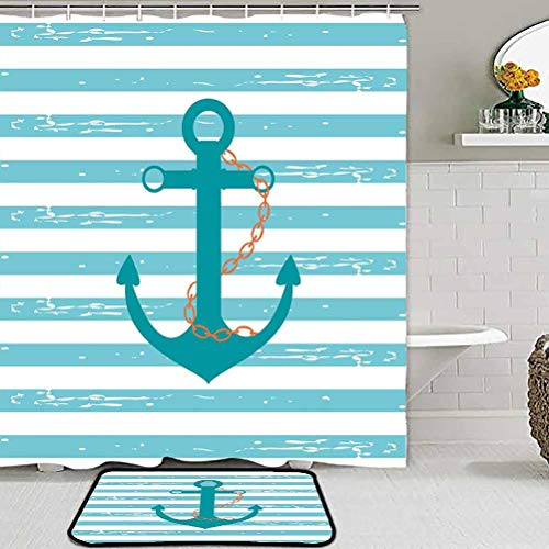 Modern Soft Rug Pad Teal,Ship Anchor Chain Marine Life Inspired with Lined Background Ocean Sailing,Teal Turquoise White Nursery Decor Floor Carpet