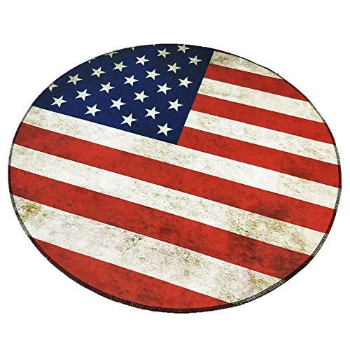 Morbuy Tapete Redondo Felpudos Alfombra 3D Alfombras Piso Moqueta Mats Pad para Habitación Decorativo (60cm, Bandera Americana)